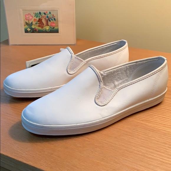 NWOB White Leather Keds Slip-ons